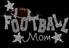 Football mom with stars rhinestone hotfix iron on by loveforbling