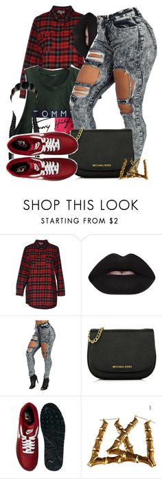 """""""Untitled #589"""" by b-elkstone ❤ liked on Polyvore featuring Twenty Easy By Kaos, Lime Crime, Tommy Hilfiger, Michael Kors and NIKE"""