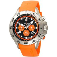 Nautica Men's NST Chrono N14538G Orange Resin Quartz Black Dial Watch | Overstock.com Shopping - The Best Deals on Nautica Men's Watches: