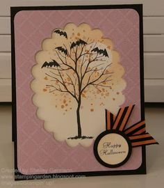 Halloween card using Stampin' Up! Branch Out, Fancy Flexible Phrases and Halloween Backgrounds.