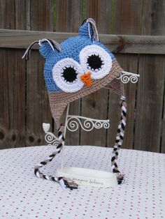BABY or TODDLER Owl Earflap Hat Custom by SweetCheeksGiftStore