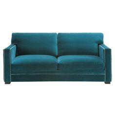 3/4 seater velvet sofa in blue Dandy