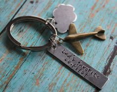 Airplane Key Chain Pilot Key Chain by designchickcreations on Etsy