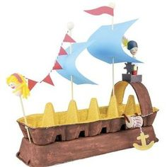 Awesome Boat Crafts - diy Thought- Awesome Boat Crafts - diy Thought- Egg Carton Pirate Ship - Craft Project Ideas - - √ The Best Crafts With Paper For Kids And Adult Kids Crafts, Boat Crafts, Craft Activities For Kids, Summer Crafts, Toddler Crafts, Projects For Kids, Diy For Kids, Arts And Crafts, Boat Craft Kids