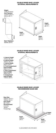 Here are the external measurements for Asgards Double ended bike locker.   #bike #locker #shed #steelshed #storage