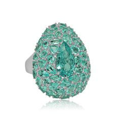 Sutra Paraiba ring in white gold set with 10.50ct Paraiba tourmalines.