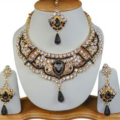 Free Shipping Indian Bollywood Jewellery Gold Tone Necklace Set Black S#263
