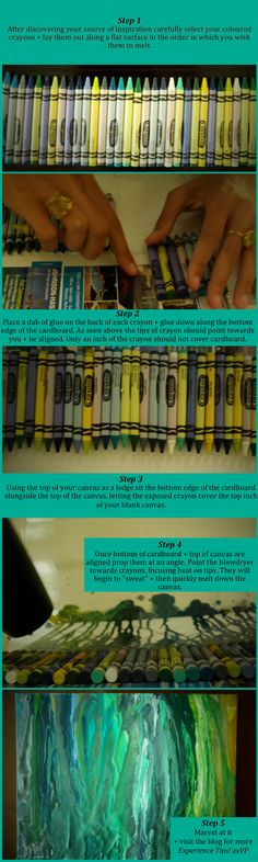 How to make melted crayon art...without gluing the crayon to the canvas.  pretty and random art