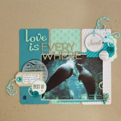 Nice color scheme and layout. I wonder what the little water droplet-like things are. My Scrapbook, Scrapbook Layouts, Scrapbooking Ideas, Digital Scrapbooking, Diy Wrapping Paper, Single Pic, Water Droplets, Layout Inspiration, Page Layout