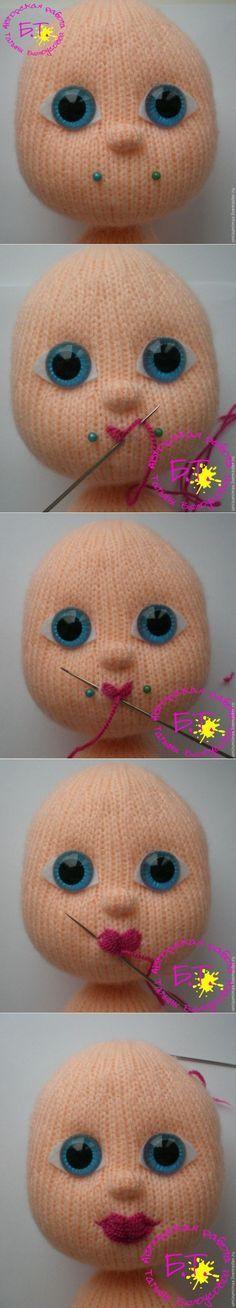 Como costurar uma boneca lábios arco de malha - ela própria o mágico