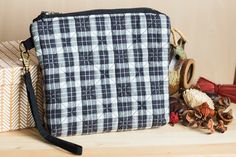 Quilted cosmetic bag black white plaid cotton flannel by SomBags