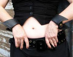 Ladies Black Leather Vamp Wrist Cuffs by VampieOodles on Etsy