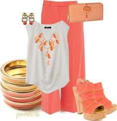 """""""Coral Dinner Date"""" by jewhite76 ❤ liked on Polyvore"""