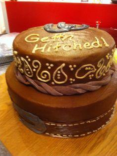 Western leather horseshoe engagement cake by Loven Cakes 573-694-8853
