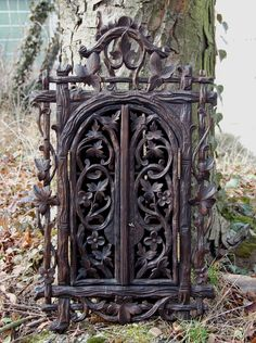 Antique Swiss Spice Cabinet - such beautiful carving. Oh my goodness, I NEED this!