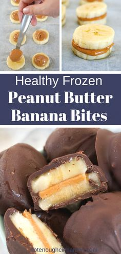 Frozen Chocolate Peanut Butter Banana Bites You only need three ingredients – chocolate, peanut butter and bananas – to make these delicious healthy frozen treats. They are super easy to make, clean eating, gluten-free,. Good Healthy Recipes, Healthy Sweets, Healthy Chocolate Snacks, Healthy Deserts, Simple Food Recipes, Clean Eating Chocolate, Healthy Junk Food, Food Ideas, Healthy Recepies