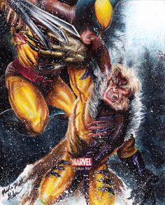 Wolverine Vs Sabertooth by Twynsunz.deviantart.com on @deviantART