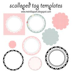 free printable scalloped tag templates - Muschelrand Etiketten - freebie