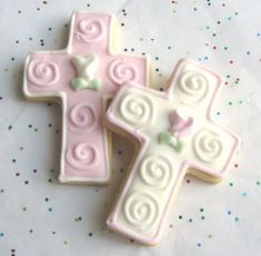 Cross Cookies from Lori's Place Gourmet Delights--Etsy   Great for Easter, Baptism, etc.