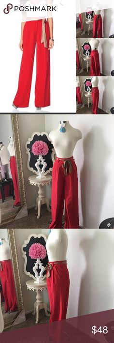 🌺Kardashian  Beautiful Long Wide Leg Pants 🌺 Kardashian  Beautiful Long Wide Leg Pants - Red w/ Gold sash - 2- Front Pockets - Back Pockets - High Waist & has. The Sailor Look - Pants are  Lined  $58 - New w/Tag Reg $79 Size: 4  Fabric : 75% Polyester- 20% Rayon - 5% Elastane  🌺 Accessories Not Included But Are also for Sale  Please Check out my Other Items in my GIRLe B Posh Shoppe'  Like us on FB   www.facebook.com/girleboutique Thanks For Looking & Always Let your Clothes get All the…