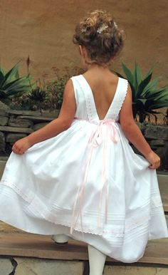 Ribbons Cotton Girls Dress back view with Pink Ribbon detail Little Girl Dresses, Girls Dresses, White Flower Girl Dresses, Flower Girls, Heirloom Sewing, Bridesmaid Flowers, Easter Dress, Pretty Baby, Birthday Dresses