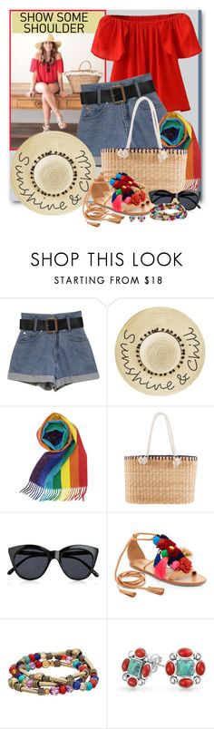 """Shimmy, Shimmy:  Off-Shoulder Tops"" by brendariley-1 ❤ liked on Polyvore featuring Betsey Johnson, Kayu, Le Specs, Catherine Catherine Malandrino, Bling Jewelry and showsomeshoulder"