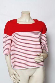 Rondina Designer Red & White Striped Nautical Boat Neck Top Sz Xs S M L Xl *Nwt*
