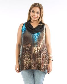 SIZE 1X 2X 3X Knit Tunic Top DILA Blue Paisley Animal Print Cowl Neck Sleeveless #Dila #KnitTunic #Clubwear