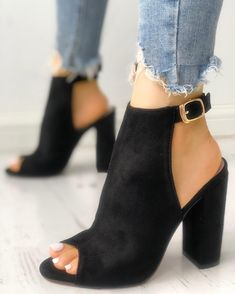 shoes - Shop Solid Suede Peep Toe Slingback Chunky Heels right now, get great deals at Joyshoetique Lace Up Heels, Peep Toe Heels, Pumps Heels, Stiletto Heels, Flats, Heeled Sandals, Strappy Sandals, Cute Shoes, Me Too Shoes