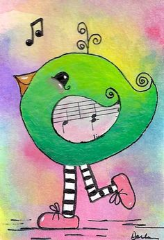 To Dance and Sing is EVERYTHING Mixed Media Original ACEO