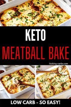 This cheesy Keto Meatball Bake with ricotta is guaranteed to keep your tastebuds singing. Perfectly seasoned meatballs topped with ricotta cheese, marinara, and mozzarella in a simple combination that never fails to satisfy. Kid friendly and PERFECT for your low carb diet. #meatballcasserole #kickingcarbs #casserole #lowcarb #ketomeatballcasserole Best Low Carb Recipes, Healthy Gluten Free Recipes, Low Carb Dinner Recipes, Beef Recipes, Italian Recipes, Real Food Recipes, Meatball Casserole, Meatball Bake, Casserole Dishes