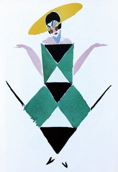Sonia Delaunay fashion design water-colour - as a print for in the bathroom or walk in closet.