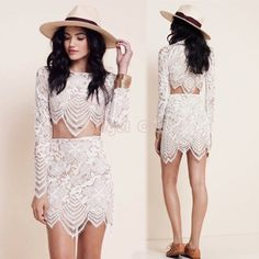 Sexy Long Sleeve White Lace Dress