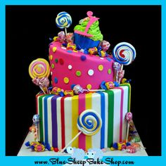 Candy Land Birthday Cake - Two tiered brightly colored candy land themed first birthday cake