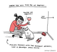 where you will find me at parties...
