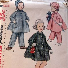 Sewing pattern Vintage 50s Toddlers Coat hat And Leggings Sz2 Simplicity #4454