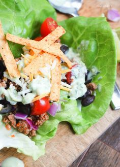 {Ella Claire}: Taco Salad Lettuce Wraps | Avocado Ranch Dressing