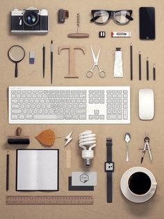 Necessities Free Design Resources, Things Organized Neatly, Web Design, Layout Design, Still Life Photography, Graphic Design Inspiration, Daily Inspiration, Gadgets, Branding