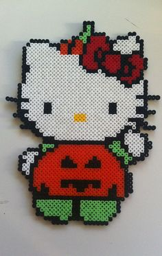 Halloween Hello Kitty perler beads by MadebyBlackSheep on Etsy