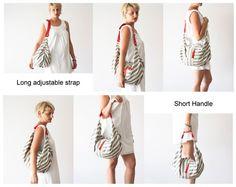 Rayure sac bandoulière en toile sac à main hobo messager par milloo