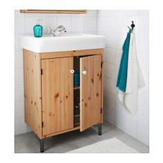 SILVERÅN / HAMNVIKEN Armario lavabo+2prtas, marrón claro - 60x45x91 cm - IKEA 155€