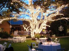 Note: (Tree Lighting) oooh, love the chandelier hanging off the tree! How pretty for a back yard wedding reception :) Backyard Engagement Parties, Backyard Wedding Decorations, Wedding Backyard, Backyard Ideas, Outdoor Night Wedding, Backyard Parties, Party Outdoor, Outdoor Decorations, Summer Parties