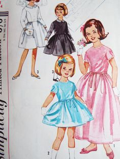 Vintage 1960s Simplicity Little Girls Dress Sewing by FoxVintageUk