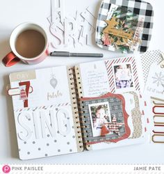 Count down the month of December with lists and and important to you traditions. Pink Paislee Document December Journal for December Daily, Christmas Countdown, Tea Cups, Scrapbook, Awesome, Blog, Pink, Coffee, Construction