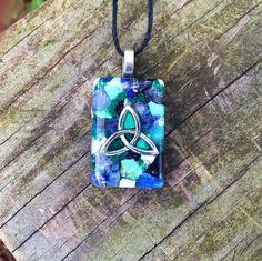 Orgone Energy Pendant - Chrysocolla, Lapis Lazuli, Covelite, Blue Aragonite, Turquoise, Malachite, Sodalite, Nuummite, Niobium, Copper by 432oneness on Etsy