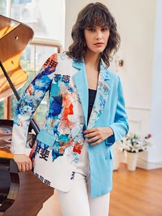 Chinese Letter & Floral Print Blazer | SHEIN USA Blazers, Printed Blazer, Types Of Sleeves, Double Breasted, Fashion News, Kimono Top, Floral Prints, Lettering, Female
