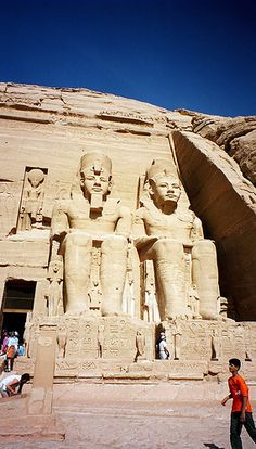 The Abu Simbel temples are massive rock temples in Abu Simbel in Nubia, southern Egypt - the desert. They are on the western bank of Lake Nasser, southwest of Aswan.
