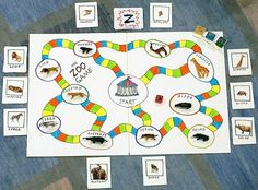 Collect Animals for your Zoo Game! Animal Activities, Party Activities, Homemade Board Games, Kids Zoo, Board Game Design, Educational Games For Kids, Board Games For Kids, Goodies, Zoo Animals
