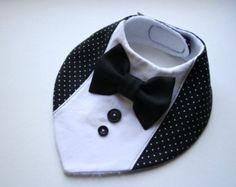 Baby bib boy, Baptism bib,shirt bow tie bib baby bandana bib removable bow tie, baby shower gift for newborn, infant B&W dots