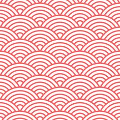 Gail Wright at Home Designer Fabric by the Yard - Scalloped Fish Scale Coral and White